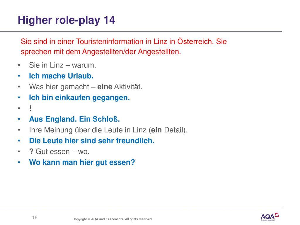 Higher role-play 14 Sie sind in einer Touristeninformation in Linz in Österreich. Sie. sprechen mit dem Angestellten/der Angestellten.