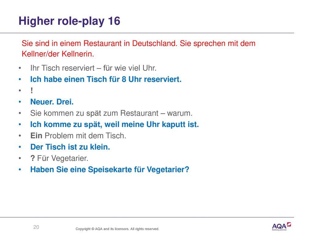 Higher role-play 16 Sie sind in einem Restaurant in Deutschland. Sie sprechen mit dem. Kellner/der Kellnerin.