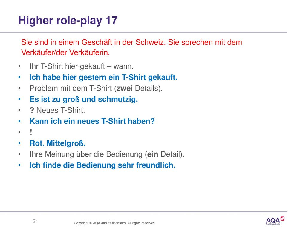 Higher role-play 17 Sie sind in einem Geschäft in der Schweiz. Sie sprechen mit dem. Verkäufer/der Verkäuferin.