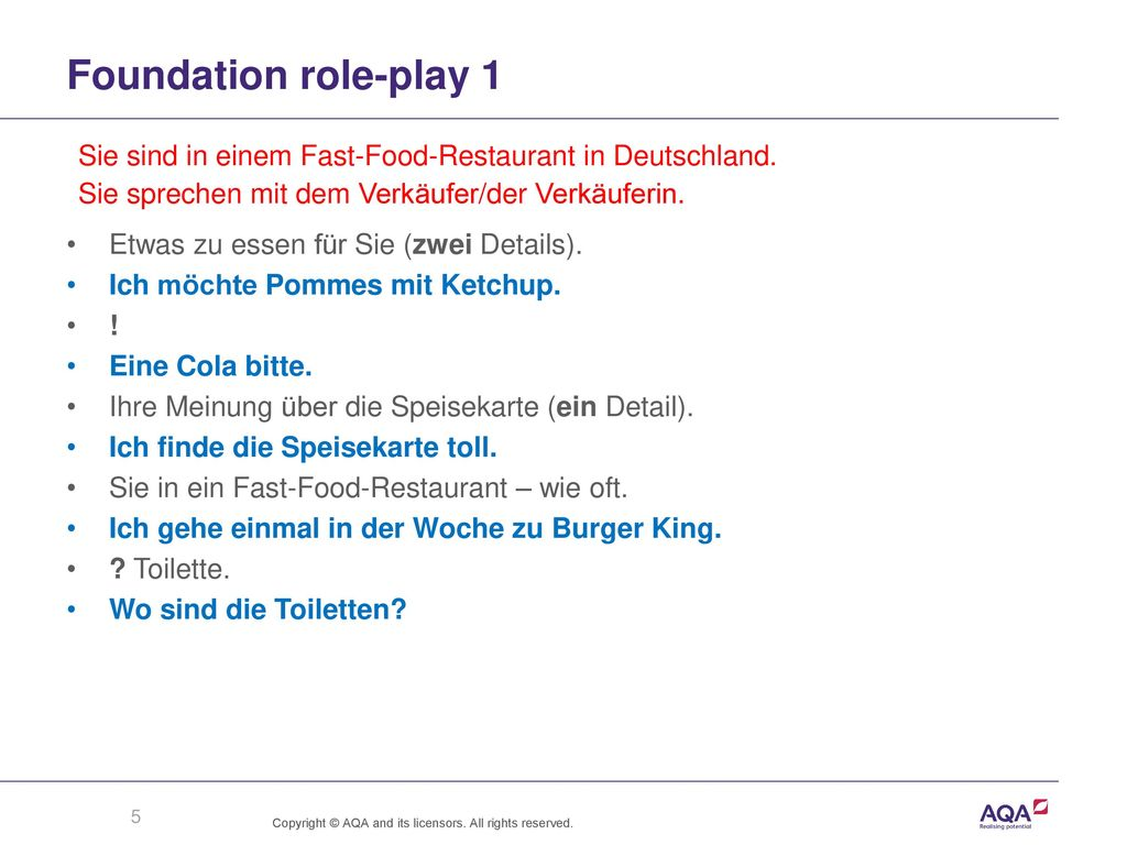 Foundation role-play 1 Sie sind in einem Fast-Food-Restaurant in Deutschland. Sie sprechen mit dem Verkäufer/der Verkäuferin.