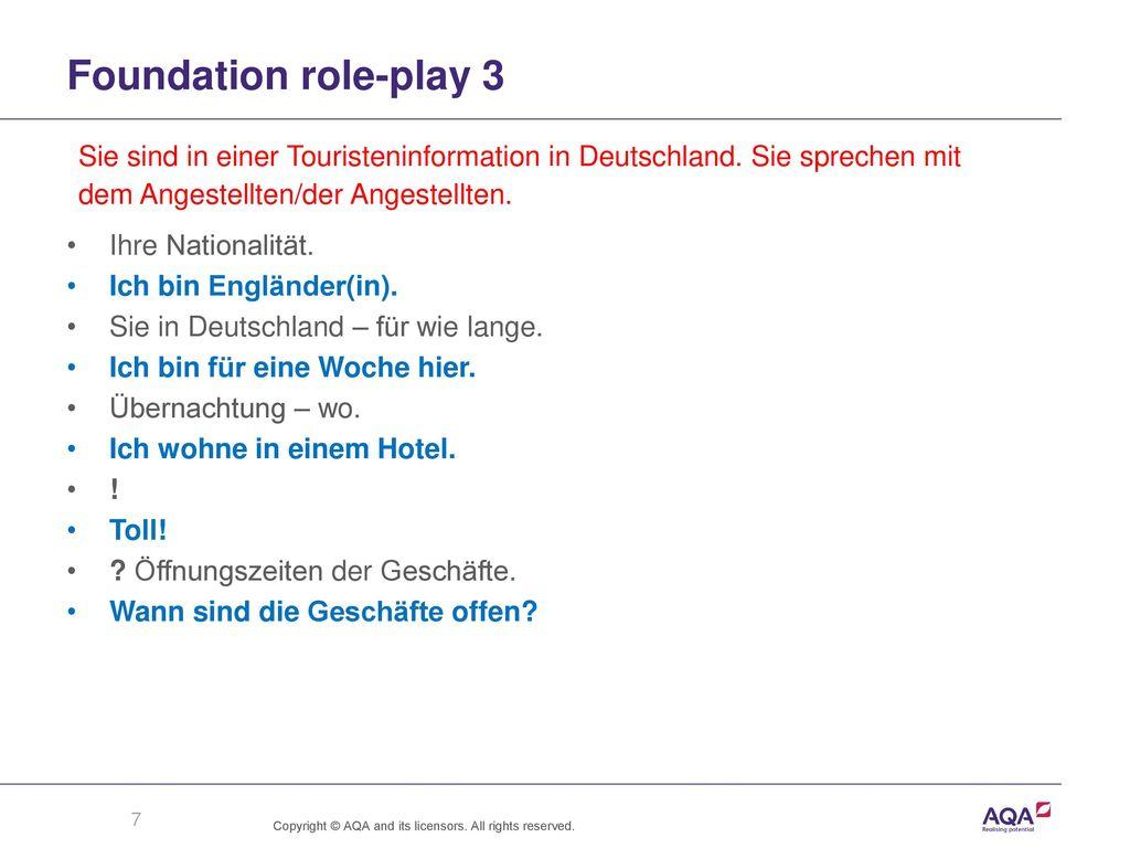 Foundation role-play 3 Sie sind in einer Touristeninformation in Deutschland. Sie sprechen mit. dem Angestellten/der Angestellten.