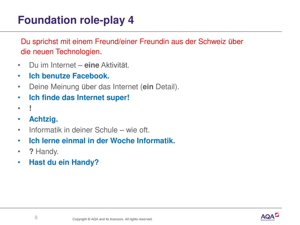 Foundation role-play 4 Du sprichst mit einem Freund/einer Freundin aus der Schweiz über. die neuen Technologien.