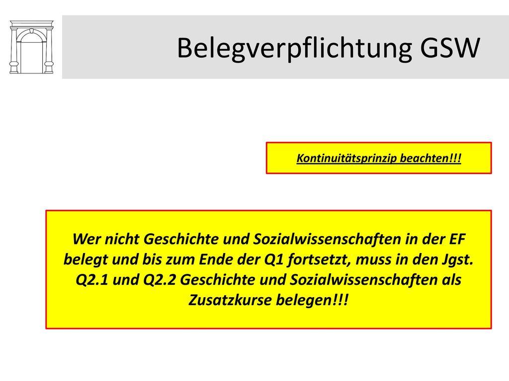Belegverpflichtung GSW
