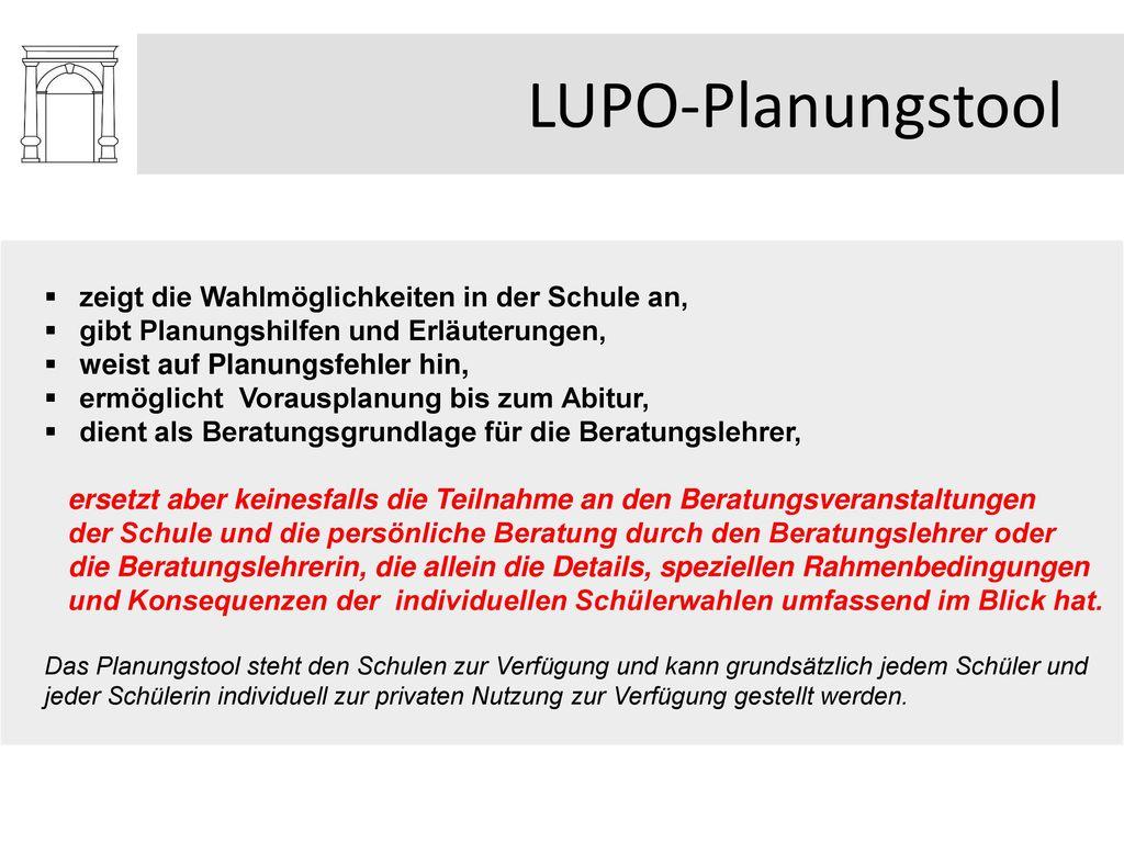 LUPO-Planungstool zeigt die Wahlmöglichkeiten in der Schule an,
