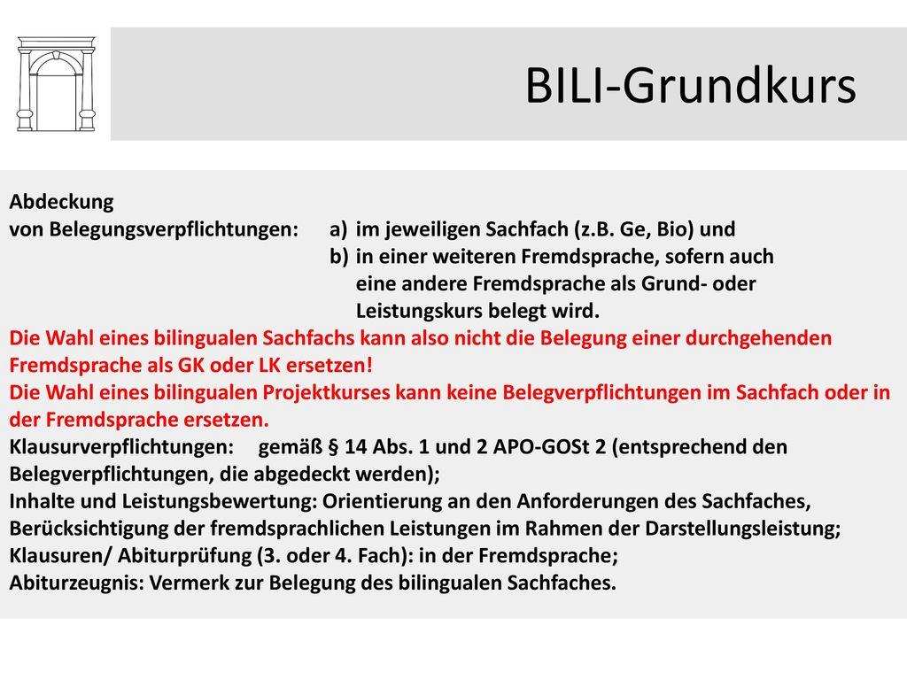BILI-Grundkurs Abdeckung