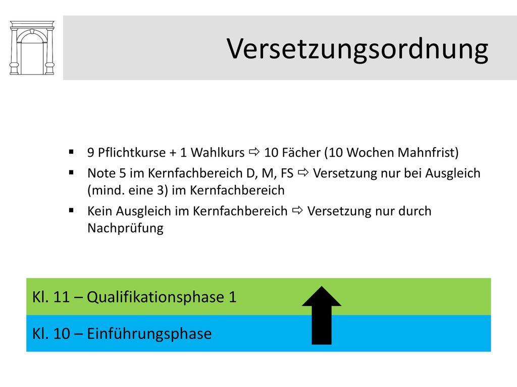 Versetzungsordnung Kl. 11 – Qualifikationsphase 1