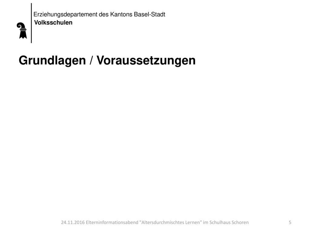 Erziehungsdepartement des Kantons Basel-Stadt Volksschulen