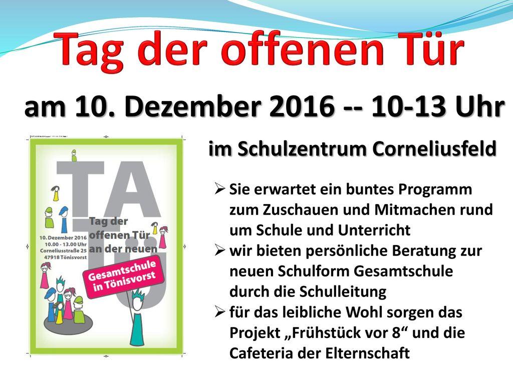 am 10. Dezember 2016 -- 10-13 Uhr im Schulzentrum Corneliusfeld