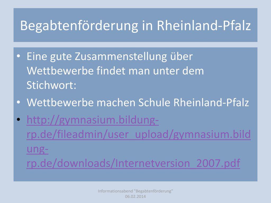Begabtenförderung in Rheinland-Pfalz
