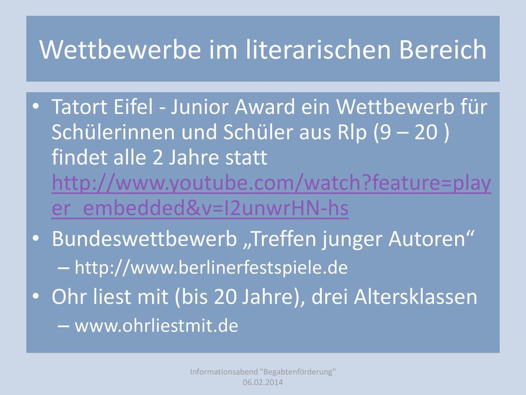 Wettbewerbe im literarischen Bereich