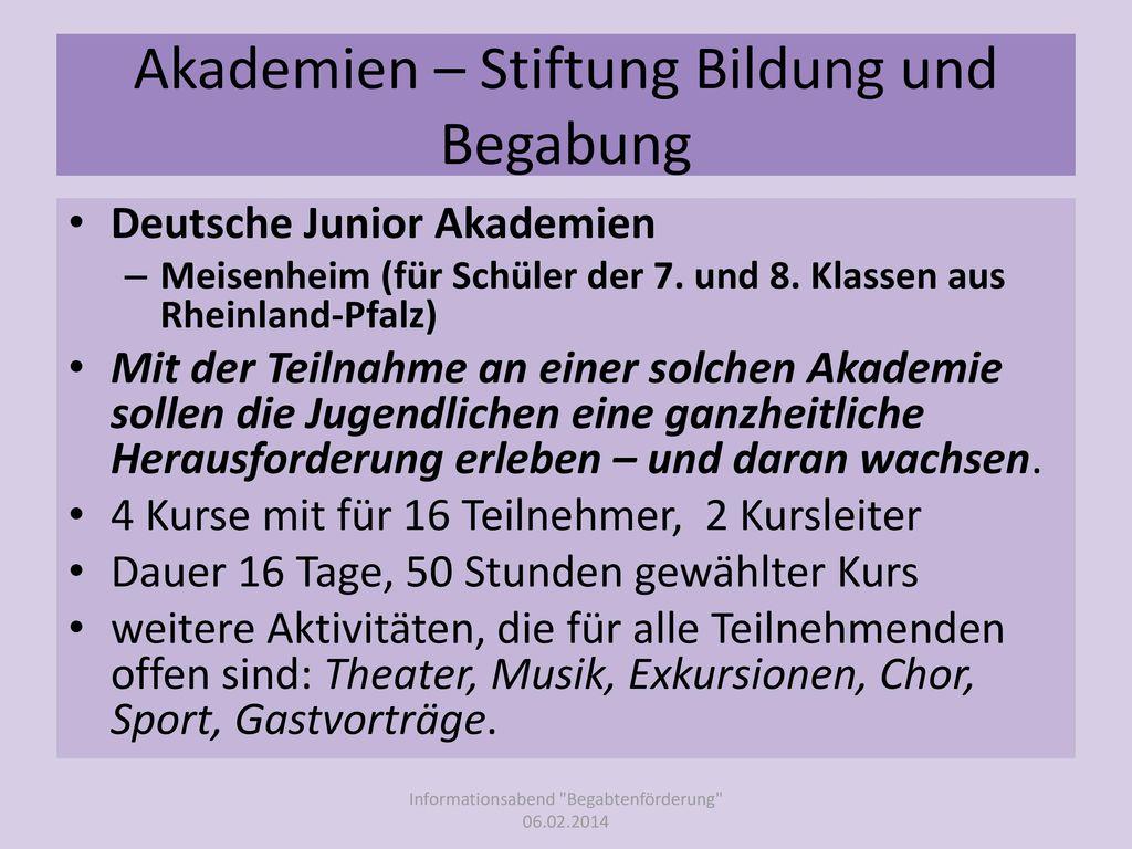 Akademien – Stiftung Bildung und Begabung