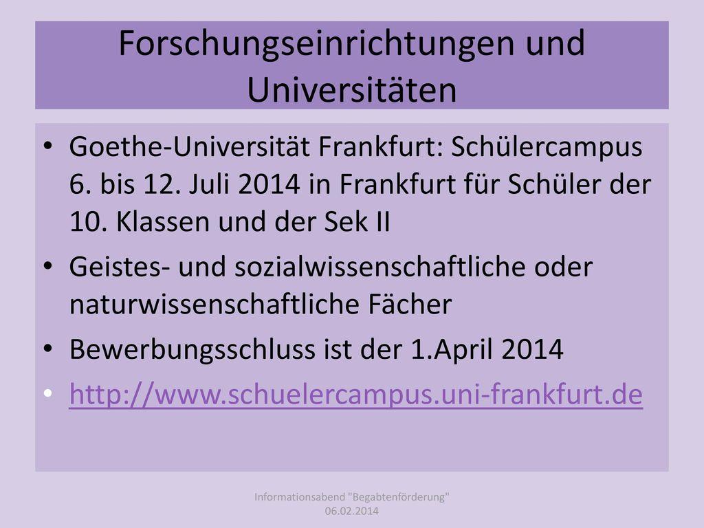 Forschungseinrichtungen und Universitäten