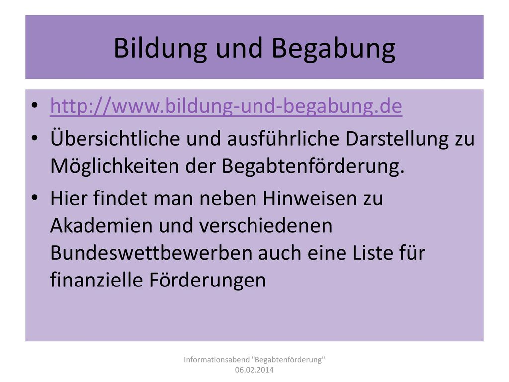 Informationsabend Begabtenförderung 06.02.2014