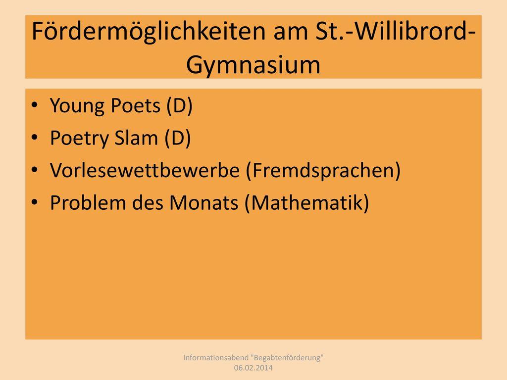 Fördermöglichkeiten am St.-Willibrord-Gymnasium