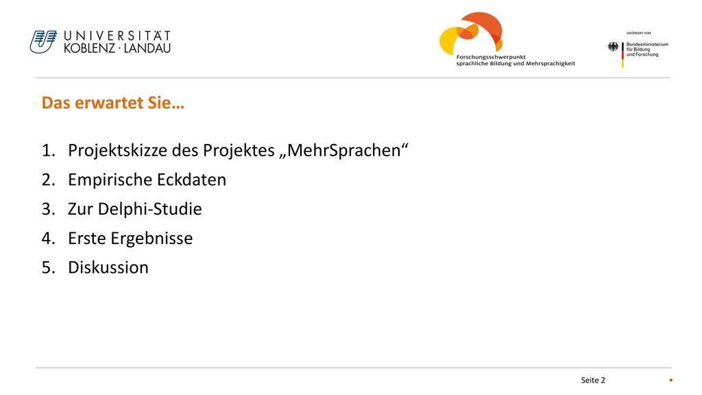 """Das erwartet Sie… Projektskizze des Projektes """"MehrSprachen Empirische Eckdaten. Zur Delphi-Studie."""