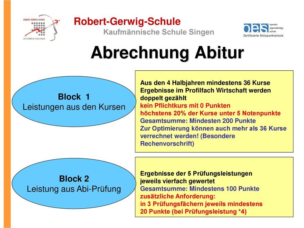 Abrechnung Abitur Block 1 Leistungen aus den Kursen Block 2