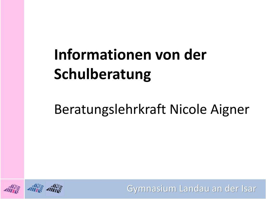 Informationen von der Schulberatung