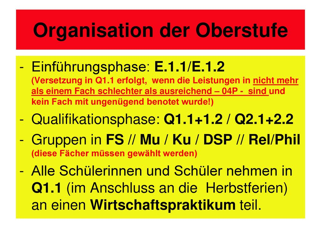 Organisation der Oberstufe