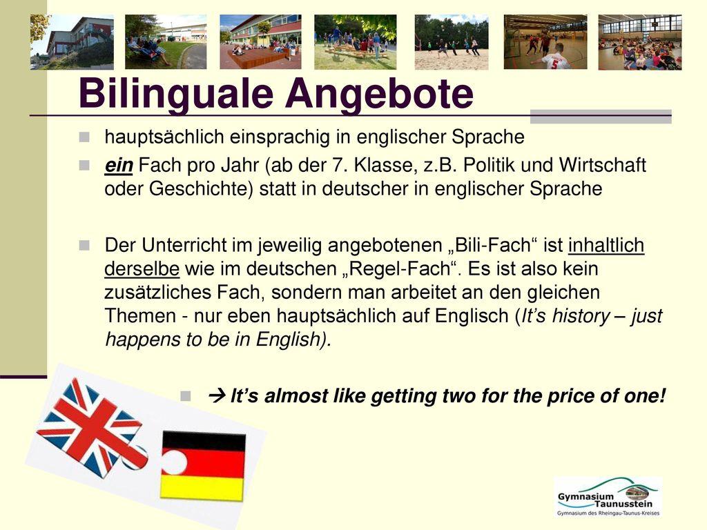 Bilinguale Angebote hauptsächlich einsprachig in englischer Sprache
