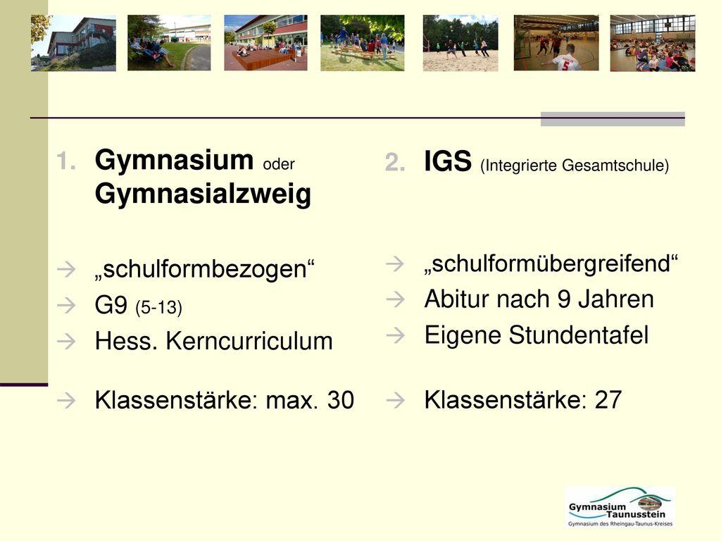 Gymnasium oder Gymnasialzweig IGS (Integrierte Gesamtschule)