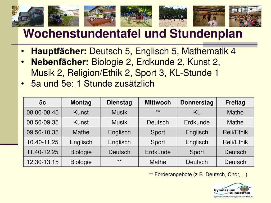 Wochenstundentafel und Stundenplan