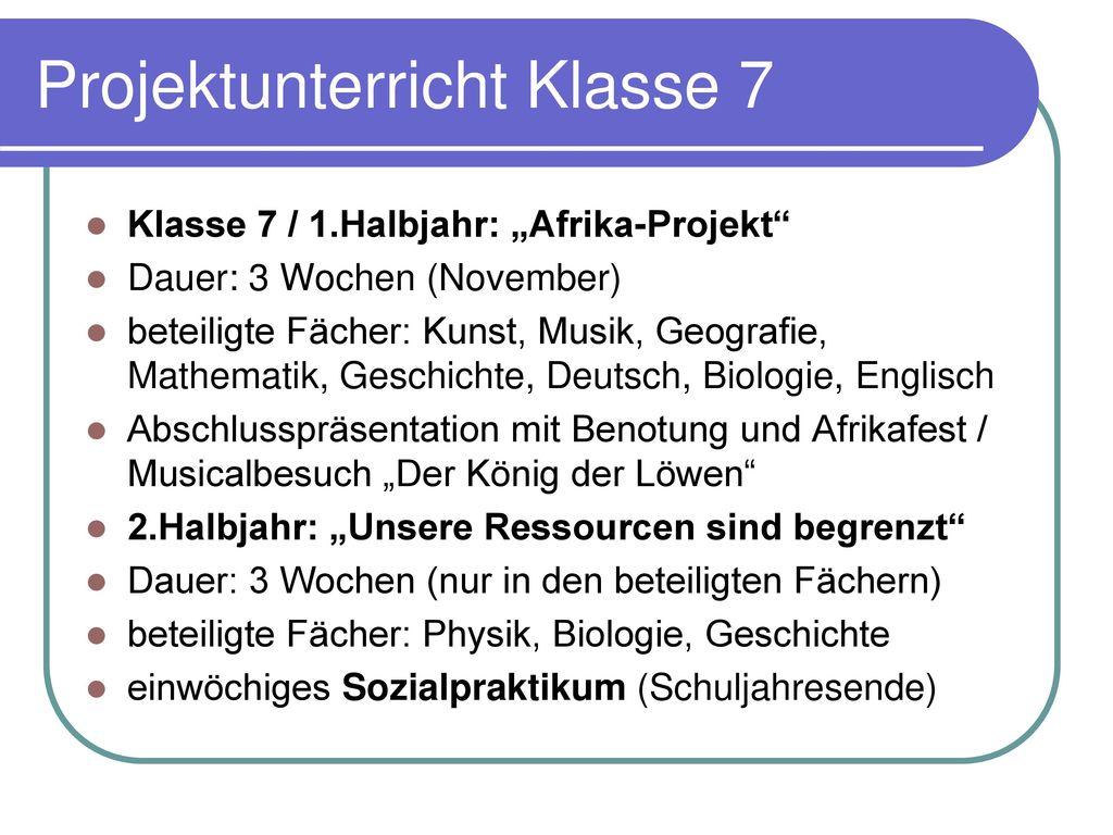 Projektunterricht Klasse 7