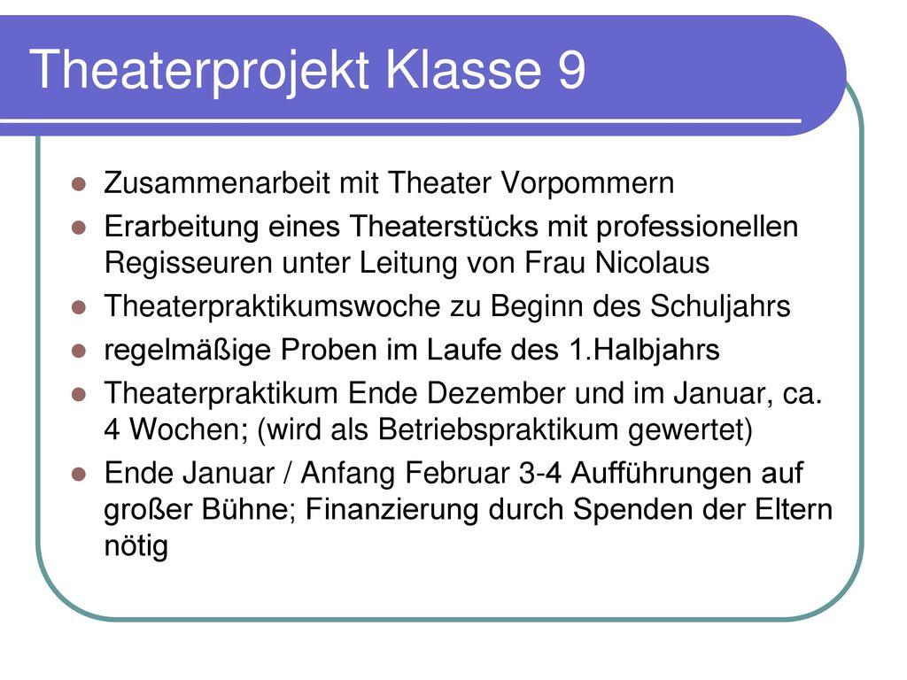 Theaterprojekt Klasse 9