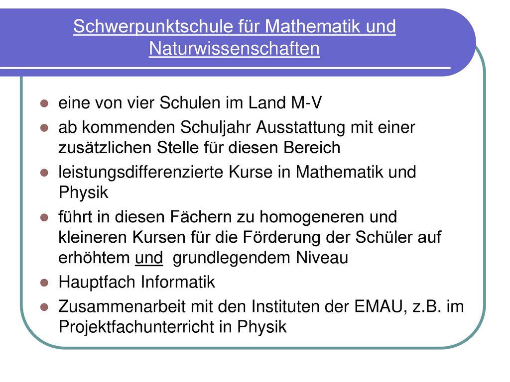 Schwerpunktschule für Mathematik und Naturwissenschaften