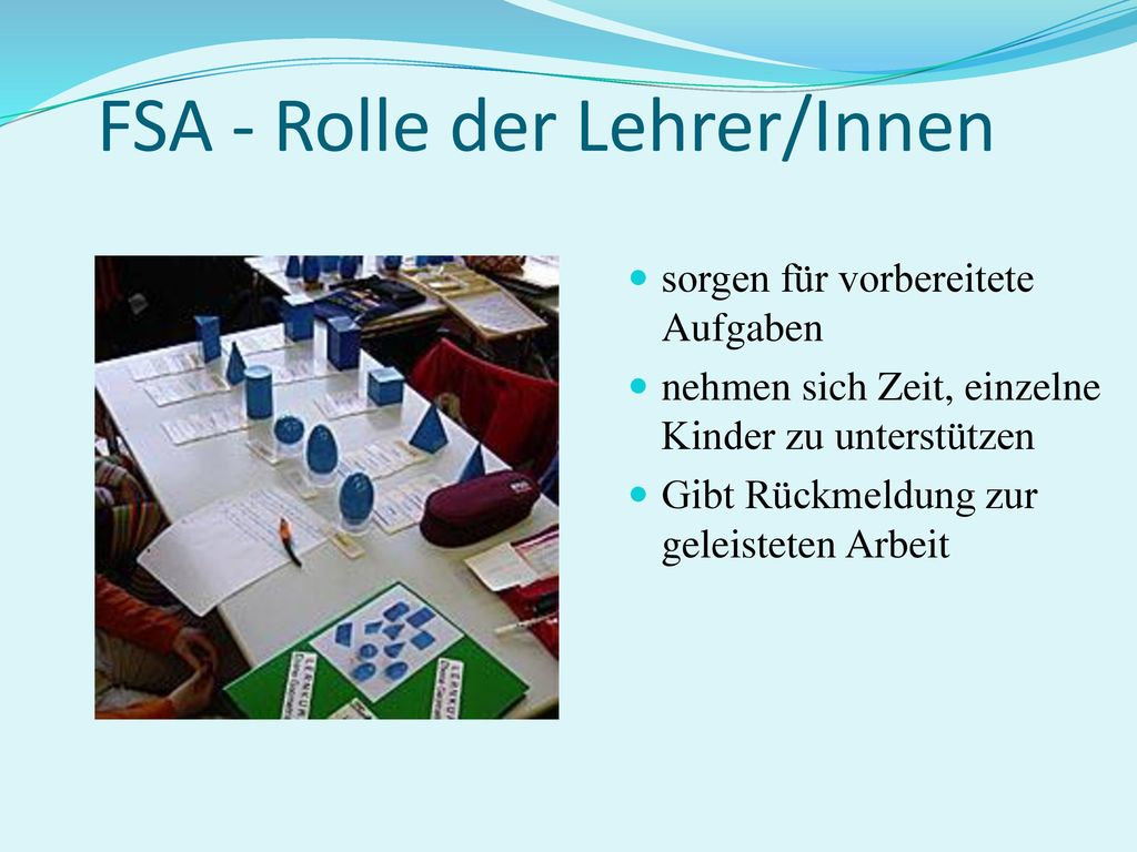 FSA - Rolle der Lehrer/Innen