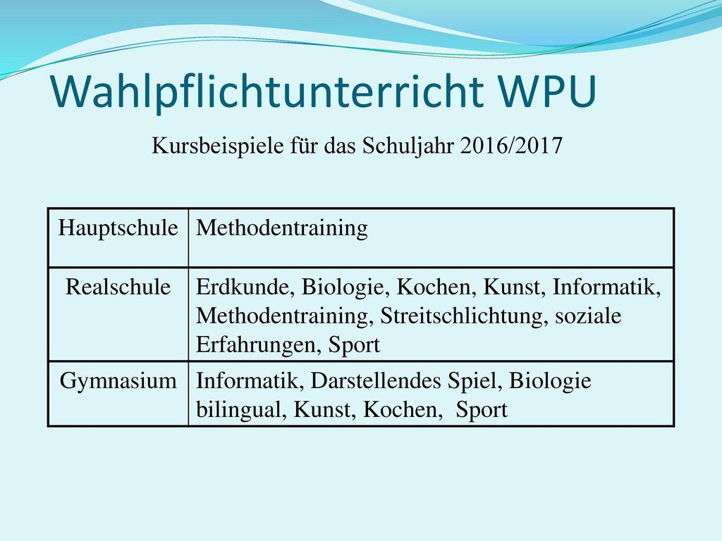 Wahlpflichtunterricht WPU