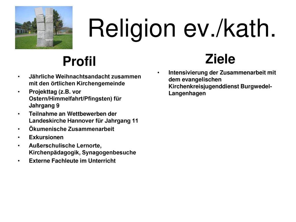 Religion ev./kath. Ziele Profil Unterrichtserteilung gemäß der Stunde