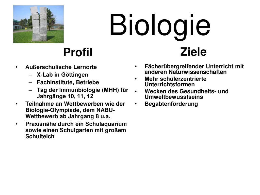 Biologie Ziele Profil Außerschulische Lernorte X-Lab in Göttingen