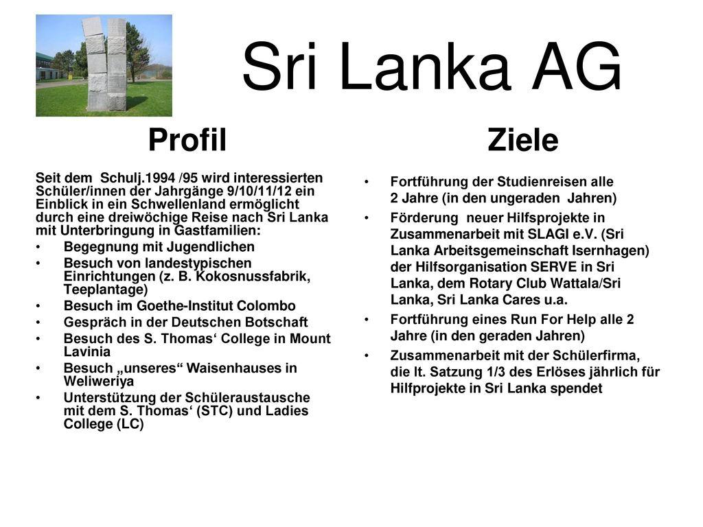 Sri Lanka AG Ziele Profil