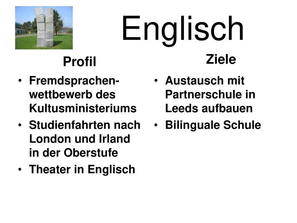 Englisch Ziele Profil Fremdsprachen-wettbewerb des Kultusministeriums
