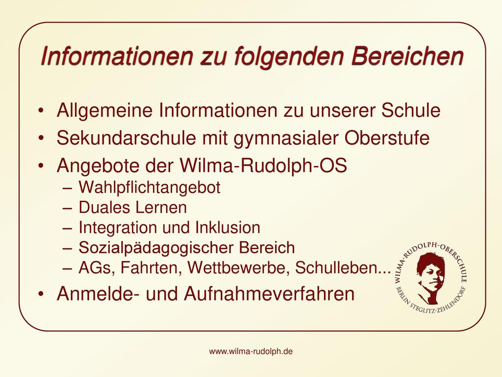 Informationen zu folgenden Bereichen