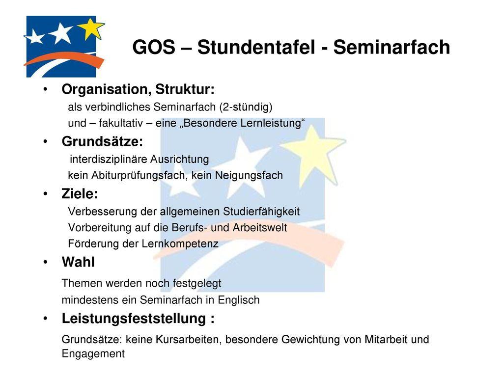 GOS – Stundentafel - Seminarfach