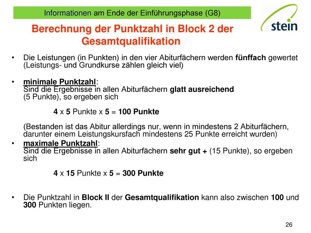 Berechnung der Punktzahl in Block 2 der Gesamtqualifikation