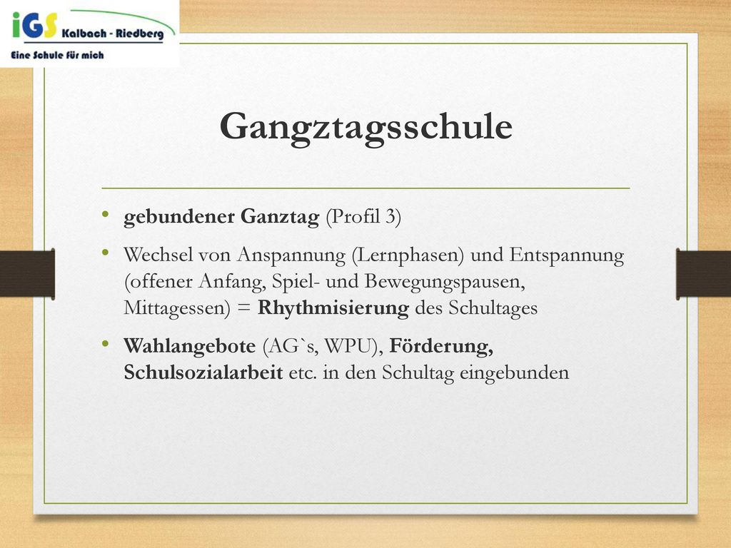 Gangztagsschule gebundener Ganztag (Profil 3)