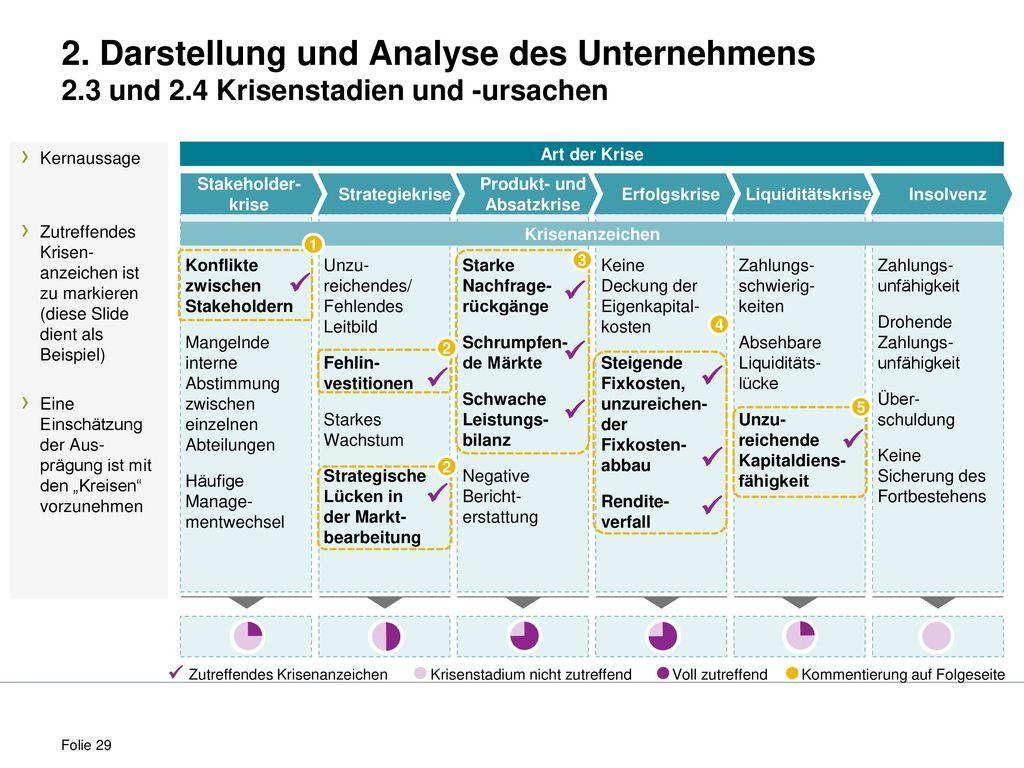 Art der Krise Krisenanzeichen. 2. Darstellung und Analyse des Unternehmens 2.3 und 2.4 Krisenstadien und -ursachen.