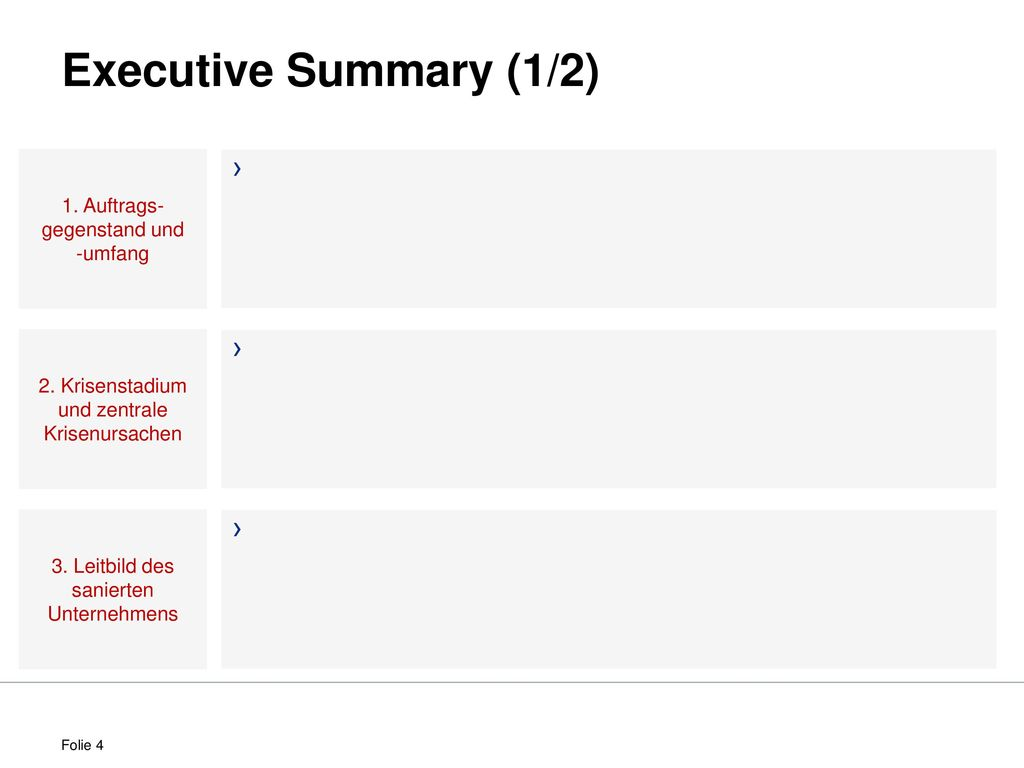 Executive Summary (1/2) 1. Auftrags-gegenstand und -umfang