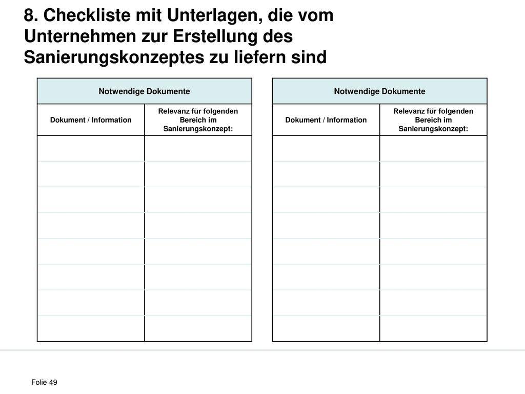 8. Checkliste mit Unterlagen, die vom Unternehmen zur Erstellung des Sanierungskonzeptes zu liefern sind