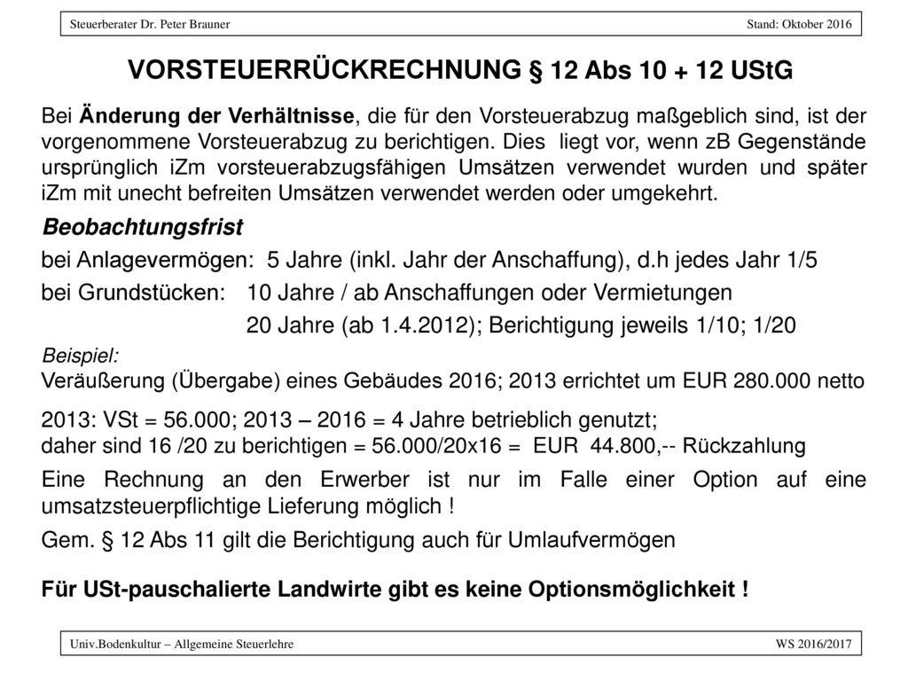 Vorsteuerrückrechnung § 12 Abs 10 + 12 UStG
