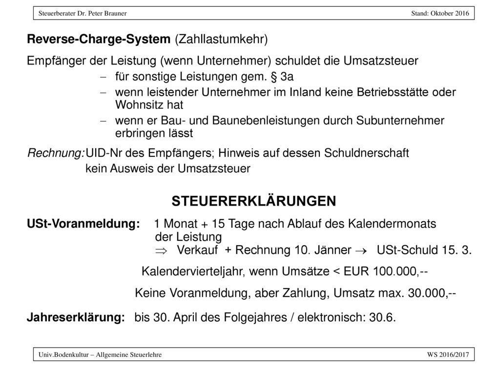 STEUERERKLÄRUNGEN Reverse-Charge-System (Zahllastumkehr)