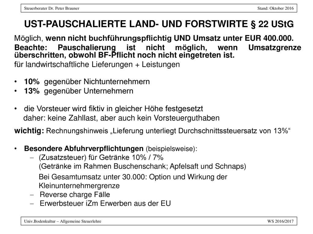 USt-Pauschalierte Land- und Forstwirte § 22 UStG
