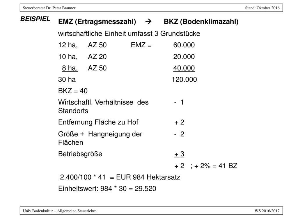 EMZ (Ertragsmesszahl)  BKZ (Bodenklimazahl)