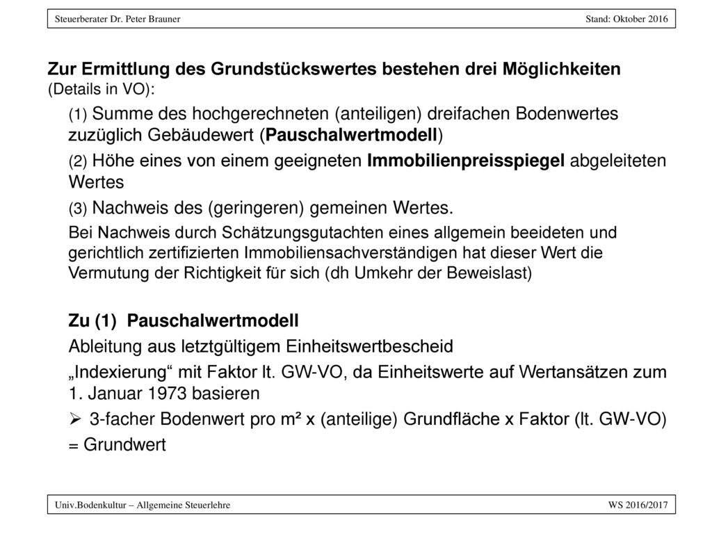 Zu (1) Pauschalwertmodell