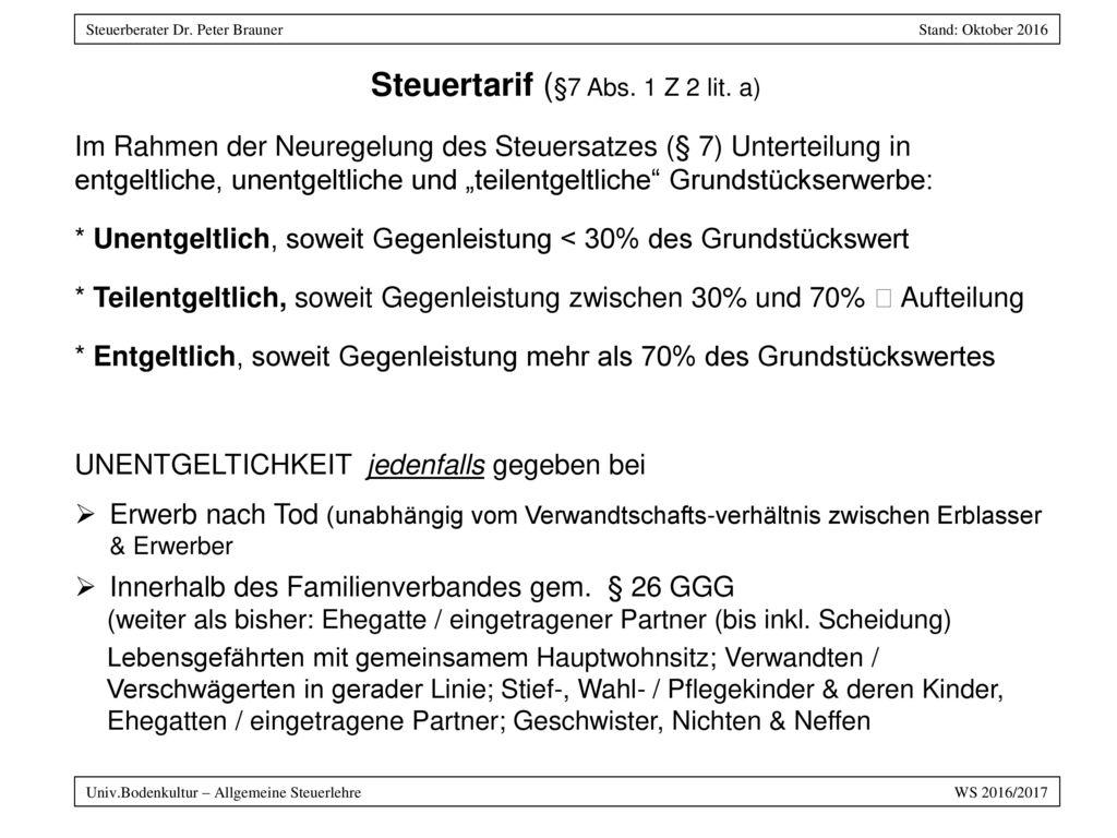 Steuertarif (§7 Abs. 1 Z 2 lit. a)