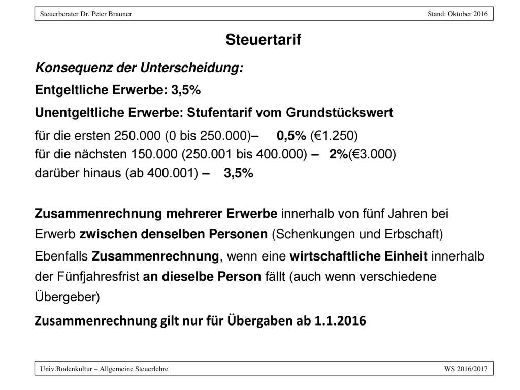 Steuertarif Zusammenrechnung gilt nur für Übergaben ab 1.1.2016