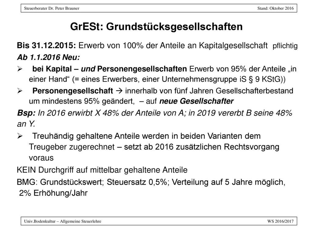 GrESt: Grundstücksgesellschaften