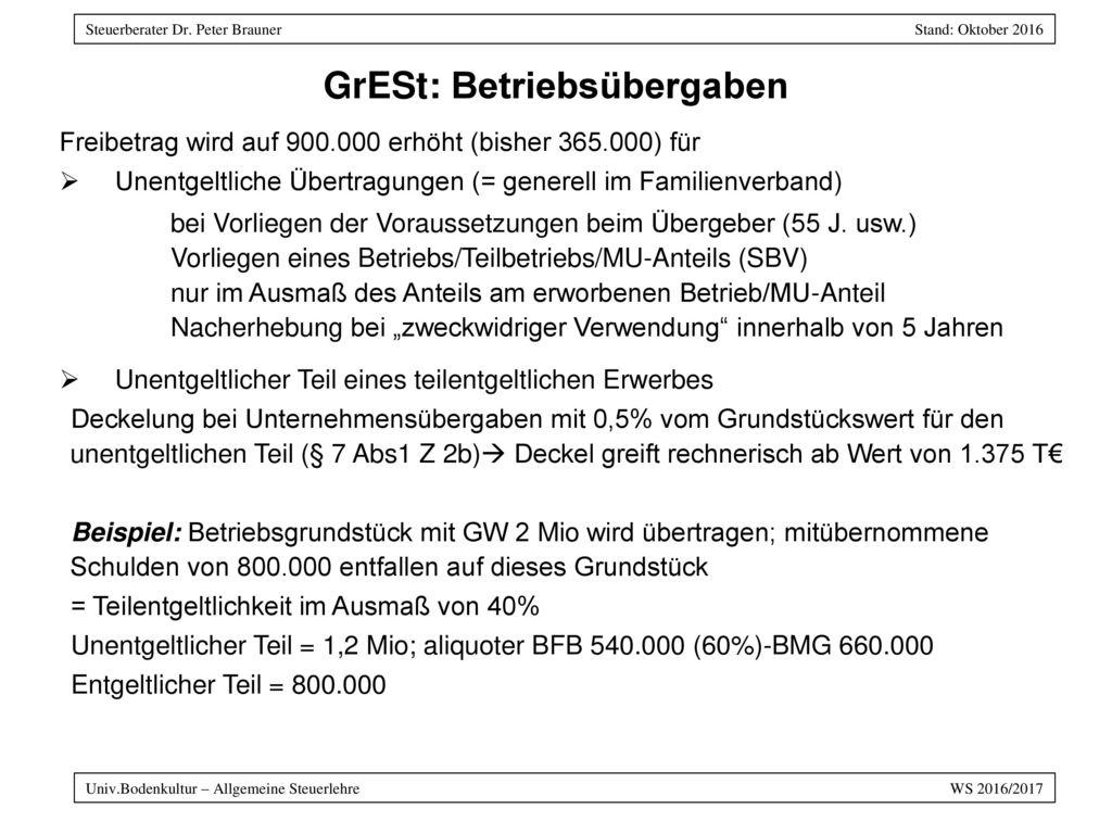 GrESt: Betriebsübergaben